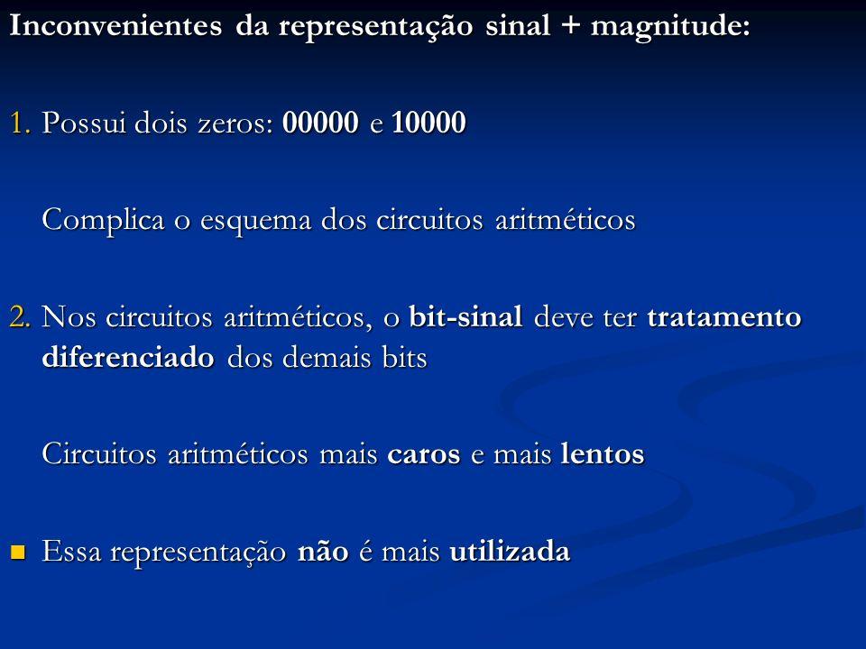 Exemplo: erro pelo tratamento não diferenciado do bit- sinal Seja a soma 10 + (-5), usando 5 bits para inteiros Seja a soma 10 + (-5), usando 5 bits para inteiros (10) 10 01010; (-5) 10 10101; (10) 10 01010; (-5) 10 10101; 0 1 0 1 0 + 1 0 1 0 1 1 1 1 1 1 = -15 Erro