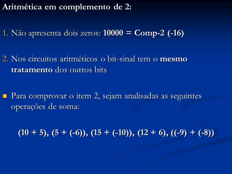 10 + 5: o resultado deve ser +15 Comp-2 (+10) = 01010; Comp-2 (+5) = 00101; Então: