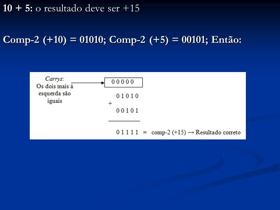 5 + (-6): o resultado deve ser -1 Comp-2 (+5) = 00101; Comp-2 (-6) = 11010; Então: