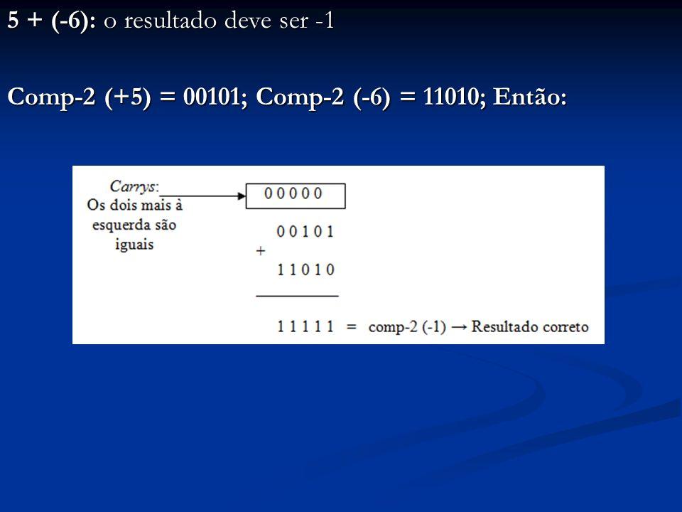 15 + (-10): o resultado deve ser +5 Comp-2 (+15) = 01111; Comp-2 (-10) = 10110; Então:
