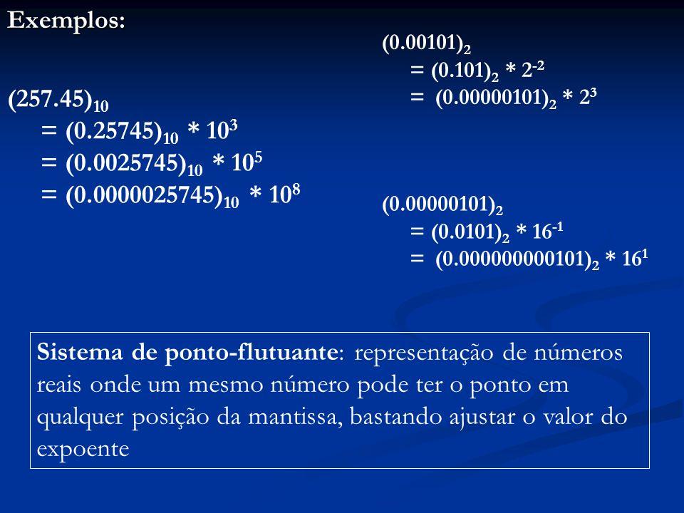 Forma normalizada: forma em que o dígito mais significativo da mantissa está à direita do ponto e o mais próximo possível dele Forma desnormalizada: forma em que isso não ocorre (257.45) 10 = (0.25745) 10 * 10 3 = (0.0025745) 10 * 10 5 = (0.0000025745) 10 * 10 8 (0.00101) 2 = (0.101) 2 * 2 -2 = (0.00000101) 2 * 2 3 (0.00000101) 2 = (0.0101) 2 * 16 -1 = (0.000000000101) 2 * 16 1