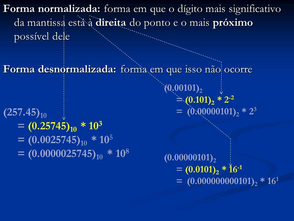 Armazenamento no computador: x = 0.mantissa * base expoente Armazena-se a mantissa e o expoente no sistema binário Armazena-se a mantissa e o expoente no sistema binário A base é uma potência de 2 e não é armazenada A base é uma potência de 2 e não é armazenada Ela é implícita nos circuitos e/ou nos programas que manipulam números reais Ela é implícita nos circuitos e/ou nos programas que manipulam números reais