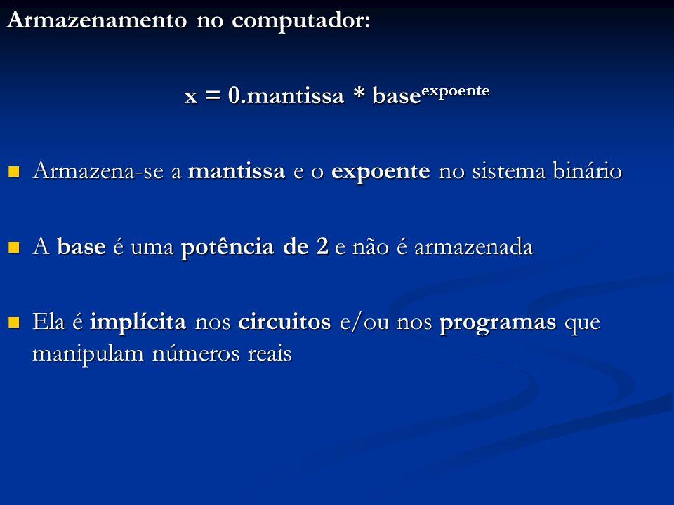 Armazenamento no computador: x = 0.mantissa * base expoente Utiliza-se sistema de ponto-flutuante e forma normalizada Utiliza-se sistema de ponto-flutuante e forma normalizada Tipicamente usa-se: Tipicamente usa-se: Um bit para o sinal Um bit para o sinal Um determinado número de bits para a mantissa em comp-2 Um determinado número de bits para a mantissa em comp-2 Um determinado número de bits para o expoente Um determinado número de bits para o expoente