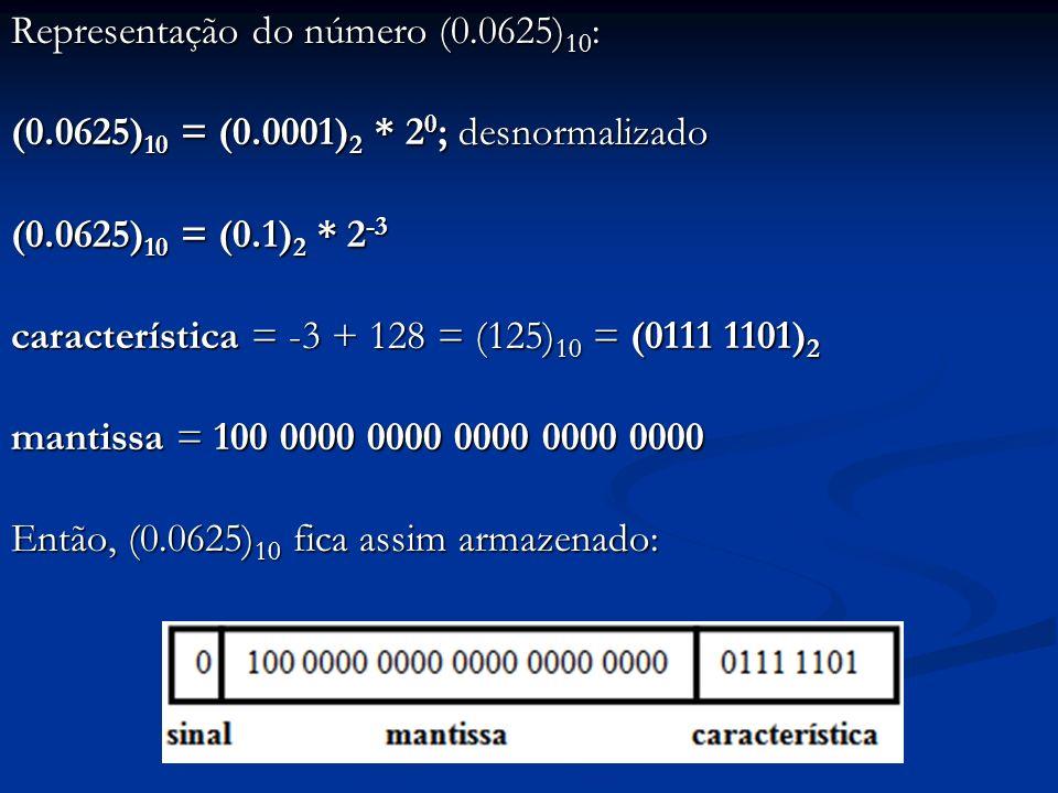 Exemplo: seja um sistema de ponto-flutuante com as mesmas dimensões do sistema anterior, exceto: Base = 16 Base = 16 Como ficam armazenados nesse sistema os seguintes números: (42.3) 10 e (0.0625) 10 .