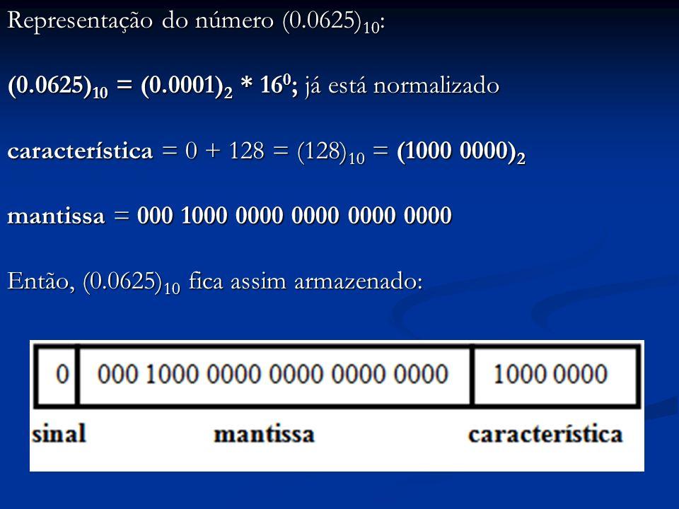 Observações: Limitar o número de bits para manipular reais delimita: Limitar o número de bits para manipular reais delimita: O tamanho máximo dos reais manipuláveis O tamanho máximo dos reais manipuláveis A precisão com que os reais são transportados entre computador e ambiente externo A precisão com que os reais são transportados entre computador e ambiente externo