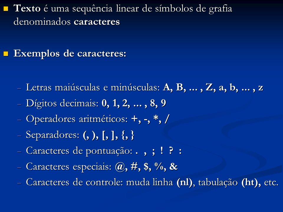 Cada caractere ocupa 1 byte (8 bits) na memória Cada caractere ocupa 1 byte (8 bits) na memória A introdução de textos na memória pelo teclado se dá por meio de conversão de cada tecla digitada para um determinado conjunto de 8 bits A introdução de textos na memória pelo teclado se dá por meio de conversão de cada tecla digitada para um determinado conjunto de 8 bits Cada caractere tem seu conjunto específico denominado padrão de bits Cada caractere tem seu conjunto específico denominado padrão de bits Com 8 bits, existem 256 padrões distintos, possibilitando representar 256 caracteres diferentes Com 8 bits, existem 256 padrões distintos, possibilitando representar 256 caracteres diferentes