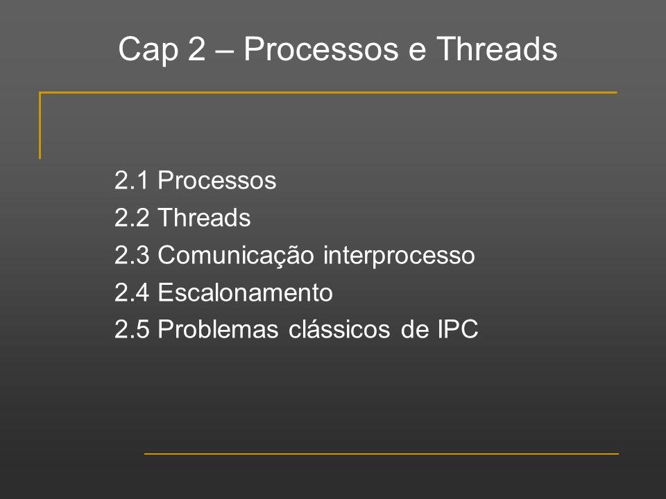 Cap 2 – Processos e Threads 2.1 Processos 2.2 Threads 2.3 Comunicação interprocesso 2.4 Escalonamento 2.5 Problemas clássicos de IPC