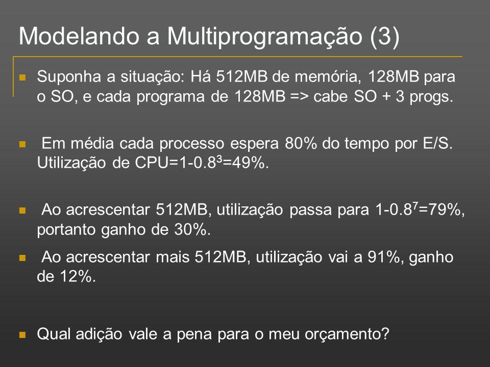 Suponha a situação: Há 512MB de memória, 128MB para o SO, e cada programa de 128MB => cabe SO + 3 progs. Em média cada processo espera 80% do tempo po