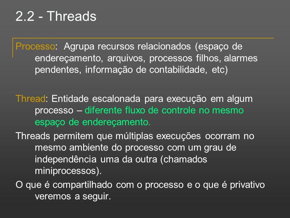 2.2 - Threads Processo: Agrupa recursos relacionados (espaço de endereçamento, arquivos, processos filhos, alarmes pendentes, informação de contabilid