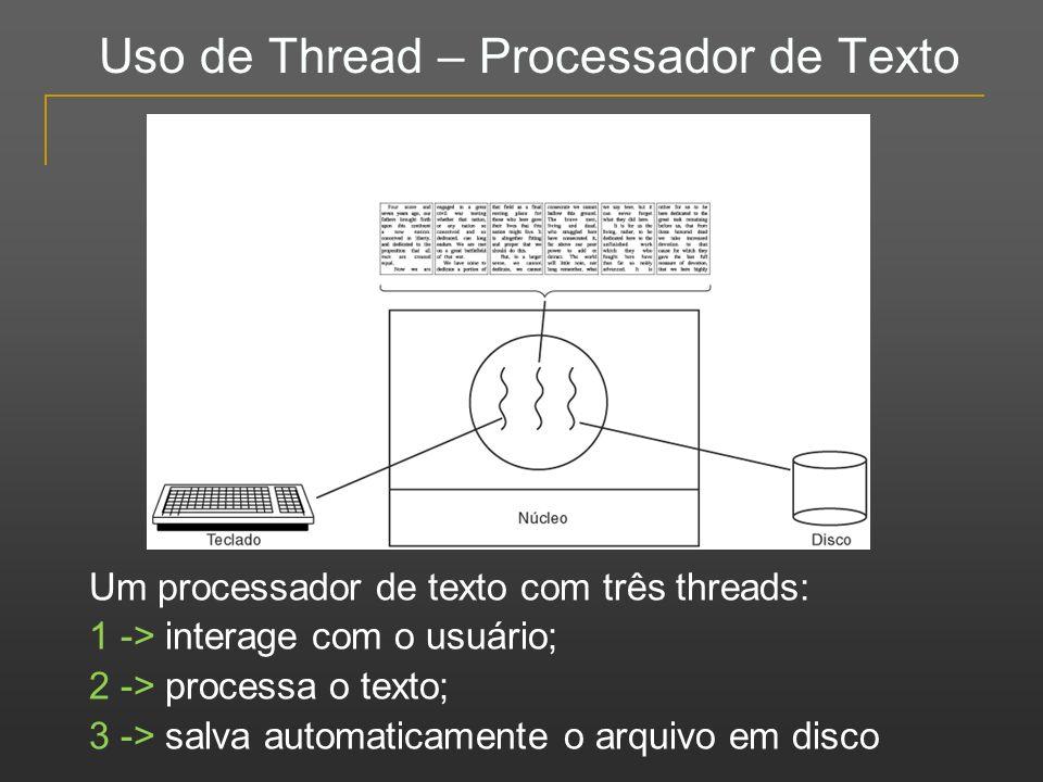 Uso de Thread – Processador de Texto Um processador de texto com três threads: 1 -> interage com o usuário; 2 -> processa o texto; 3 -> salva automati