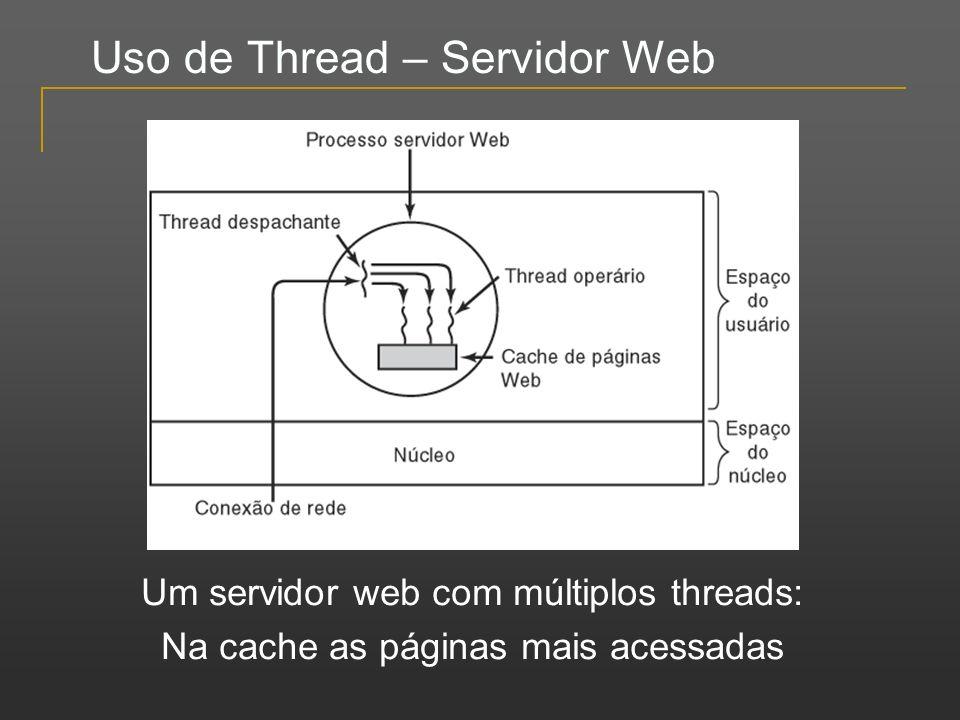 Uso de Thread – Servidor Web Um servidor web com múltiplos threads: Na cache as páginas mais acessadas