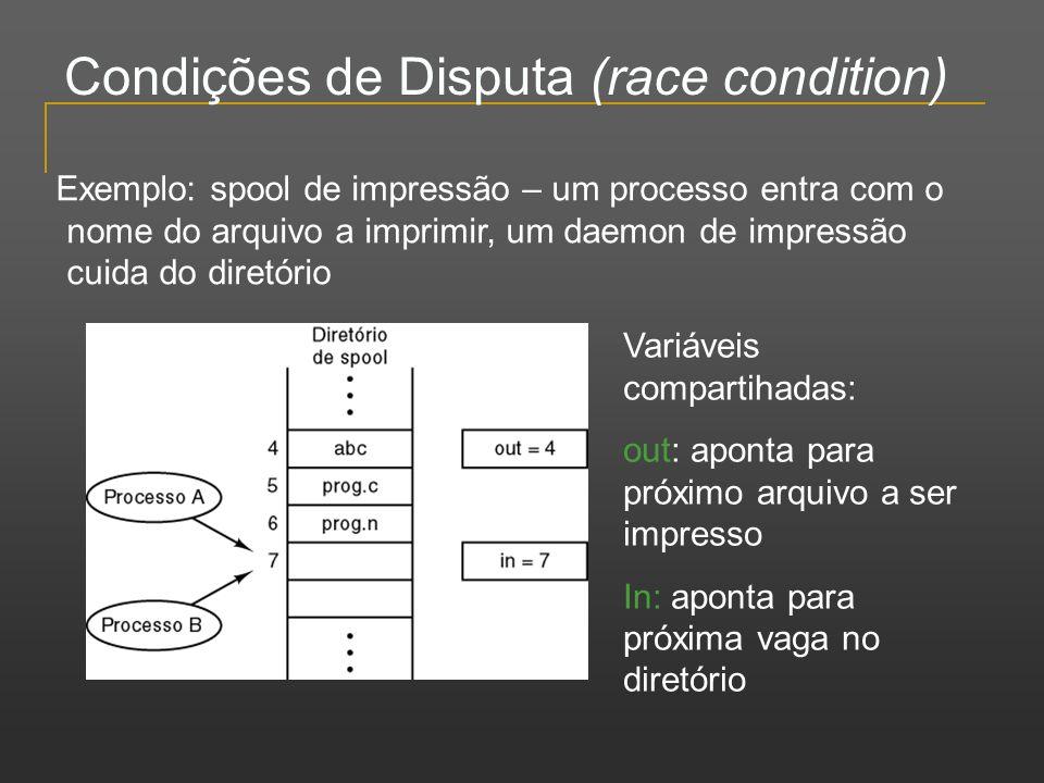 Condições de Disputa (race condition) Variáveis compartihadas: out: aponta para próximo arquivo a ser impresso In: aponta para próxima vaga no diretór