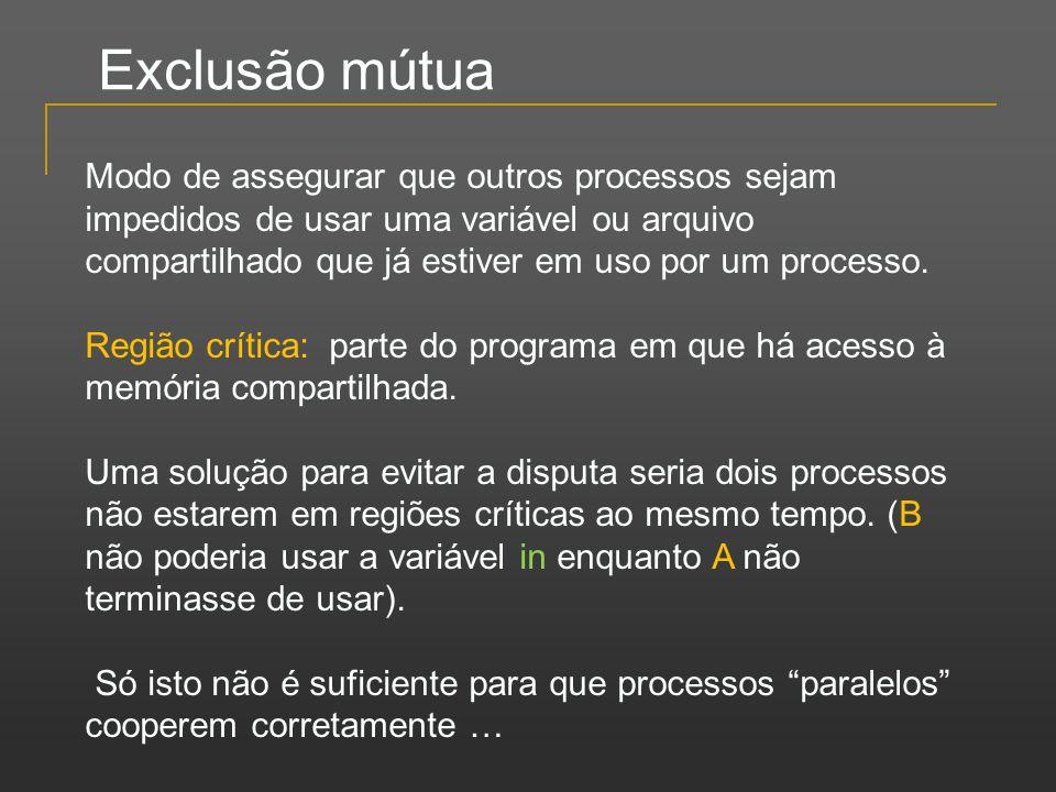 Exclusão mútua Modo de assegurar que outros processos sejam impedidos de usar uma variável ou arquivo compartilhado que já estiver em uso por um proce