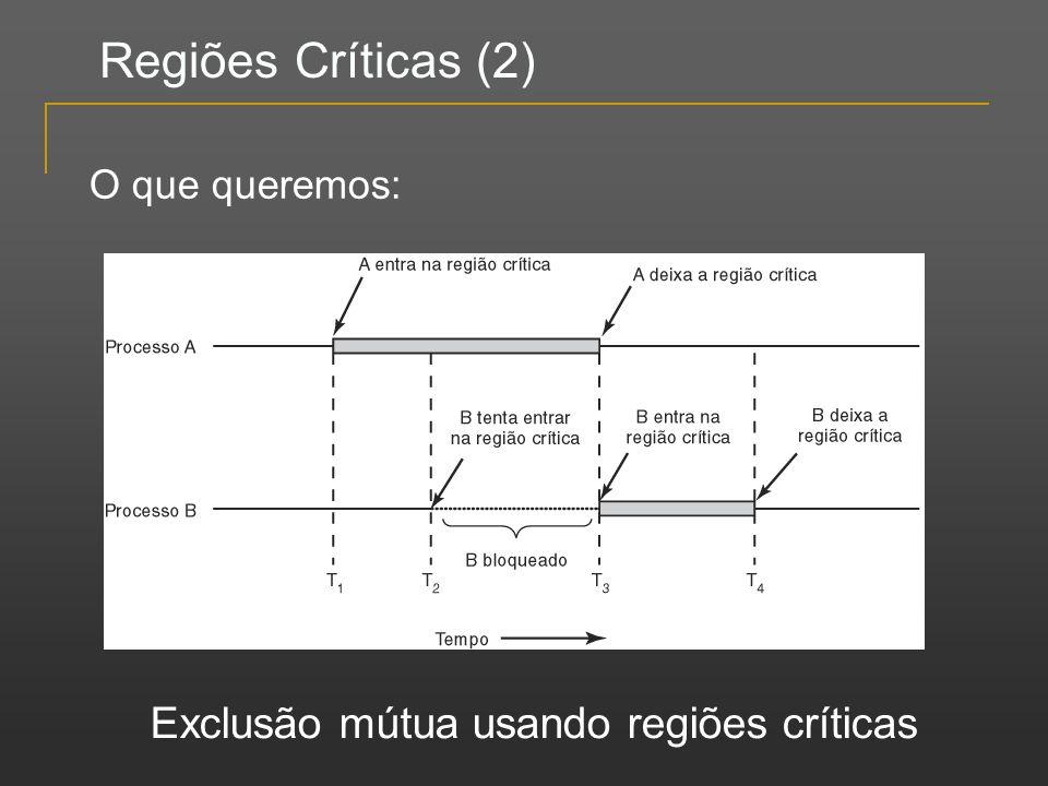 Regiões Críticas (2) Exclusão mútua usando regiões críticas O que queremos:
