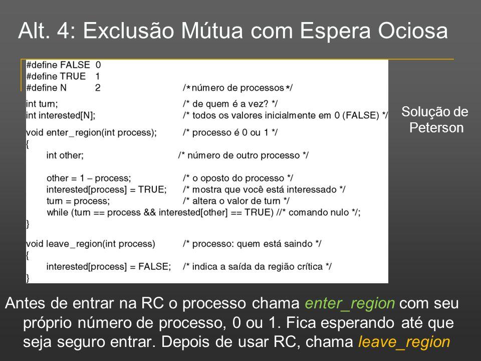 Alt. 4: Exclusão Mútua com Espera Ociosa Antes de entrar na RC o processo chama enter_region com seu próprio número de processo, 0 ou 1. Fica esperand