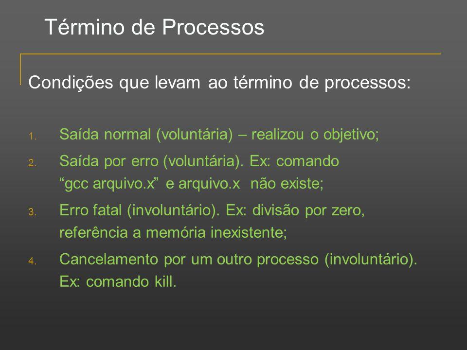 Término de Processos Condições que levam ao término de processos: 1. Saída normal (voluntária) – realizou o objetivo; 2. Saída por erro (voluntária).