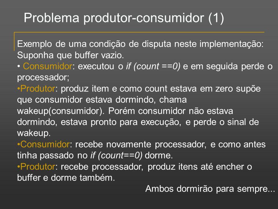 Problema produtor-consumidor (1) Exemplo de uma condição de disputa neste implementação: Suponha que buffer vazio. Consumidor: executou o if (count ==