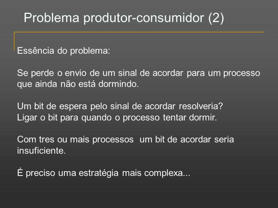Problema produtor-consumidor (2) Essência do problema: Se perde o envio de um sinal de acordar para um processo que ainda não está dormindo. Um bit de