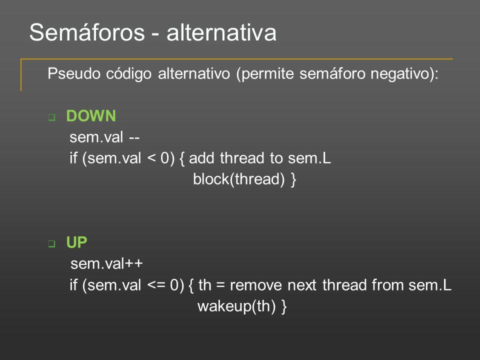 Semáforos - alternativa Pseudo código alternativo (permite semáforo negativo): DOWN sem.val -- if (sem.val < 0) { add thread to sem.L block(thread) }