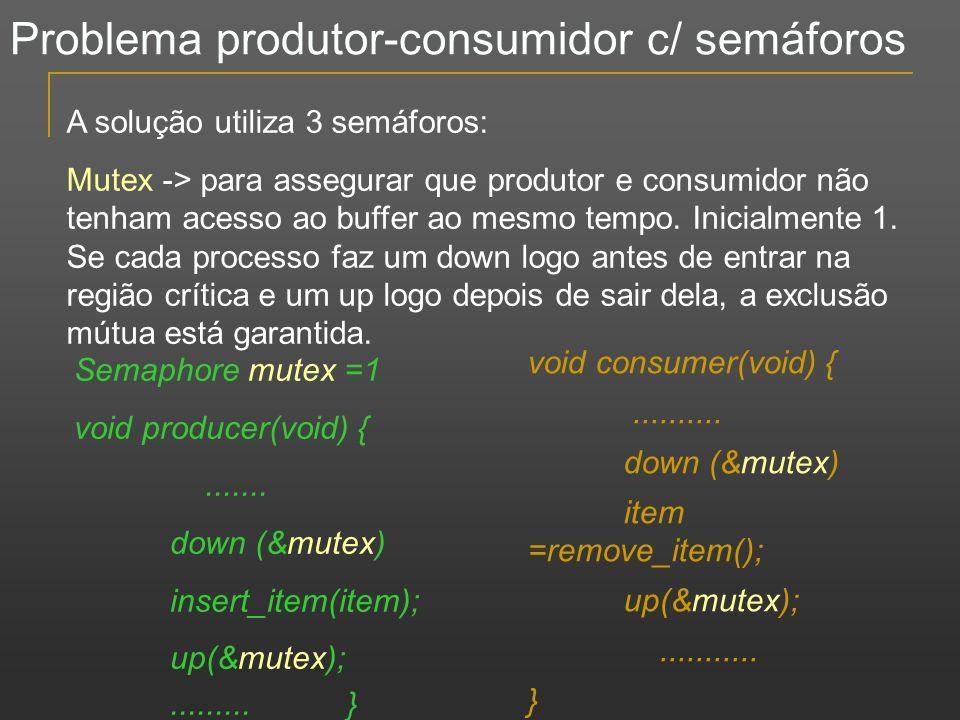 Problema produtor-consumidor c/ semáforos A solução utiliza 3 semáforos: Mutex -> para assegurar que produtor e consumidor não tenham acesso ao buffer