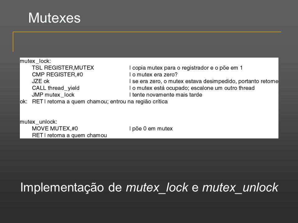 Mutexes Implementação de mutex_lock e mutex_unlock