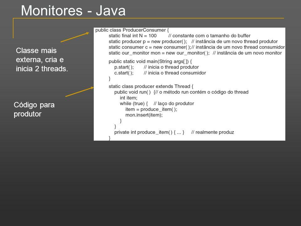 Monitores - Java Classe mais externa, cria e inicia 2 threads. Código para produtor