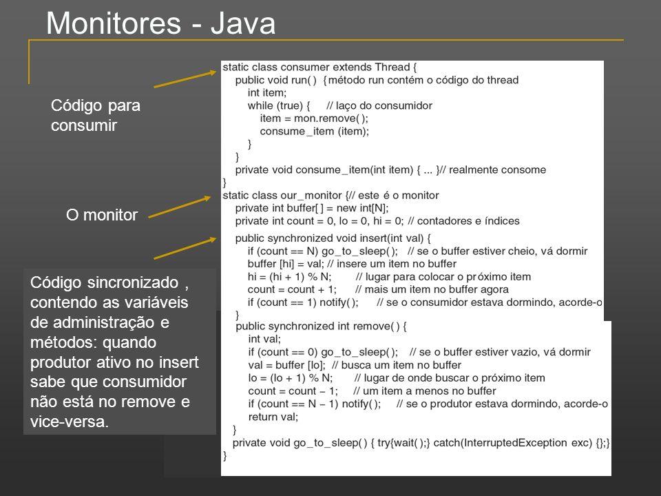 Monitores - Java O monitor Código para consumir Código sincronizado, contendo as variáveis de administração e métodos: quando produtor ativo no insert