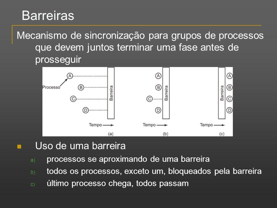 Barreiras Mecanismo de sincronização para grupos de processos que devem juntos terminar uma fase antes de prosseguir Uso de uma barreira a) processos