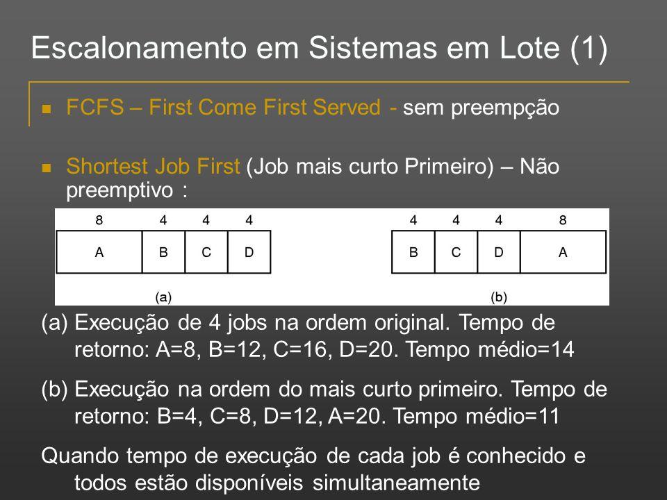 Escalonamento em Sistemas em Lote (1) FCFS – First Come First Served - sem preempção Shortest Job First (Job mais curto Primeiro) – Não preemptivo : (
