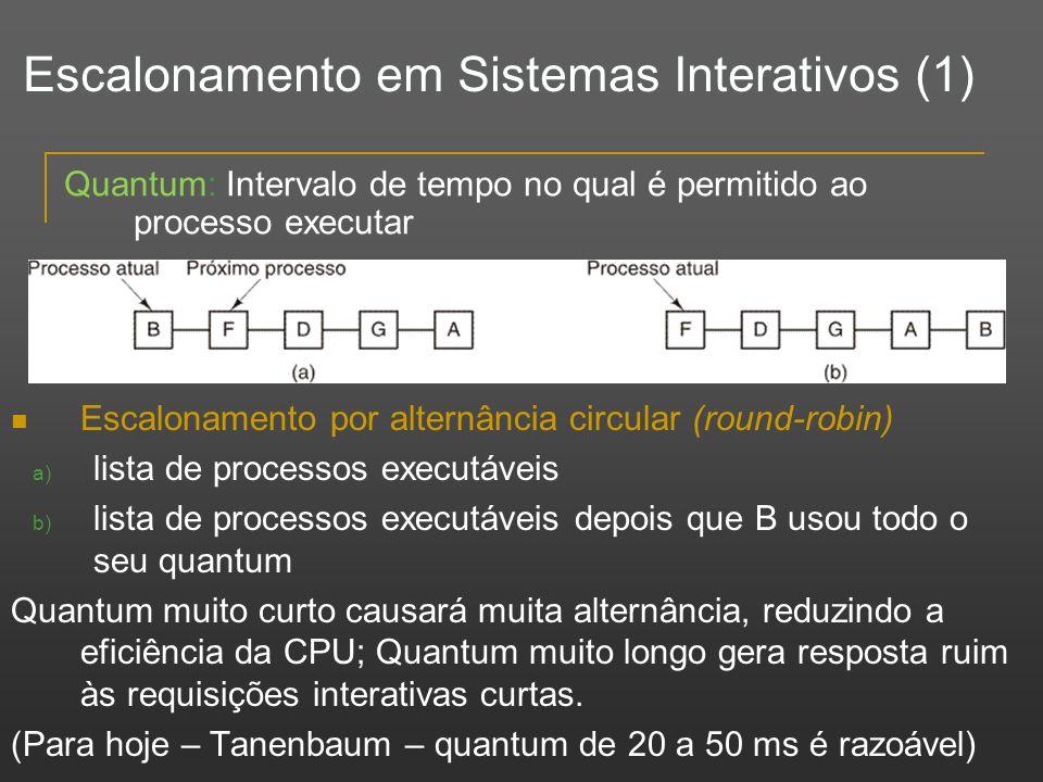 Escalonamento em Sistemas Interativos (1) Escalonamento por alternância circular (round-robin) a) lista de processos executáveis b) lista de processos