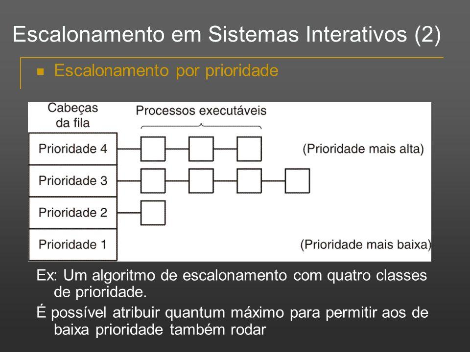 Escalonamento por prioridade Ex: Um algoritmo de escalonamento com quatro classes de prioridade. É possível atribuir quantum máximo para permitir aos