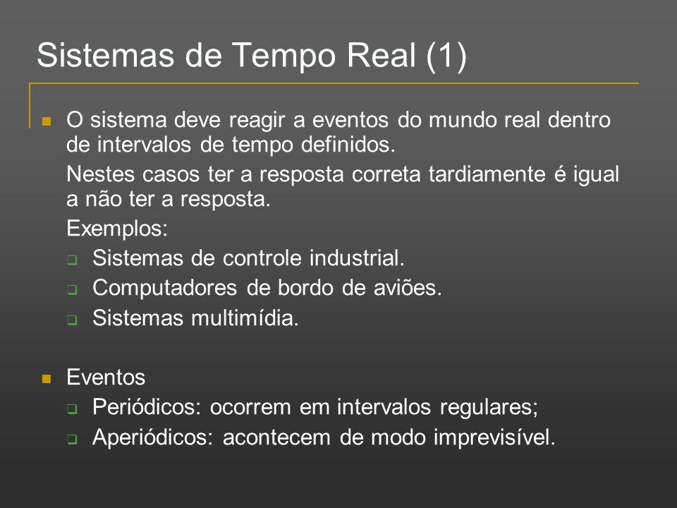 Sistemas de Tempo Real (1) O sistema deve reagir a eventos do mundo real dentro de intervalos de tempo definidos. Nestes casos ter a resposta correta