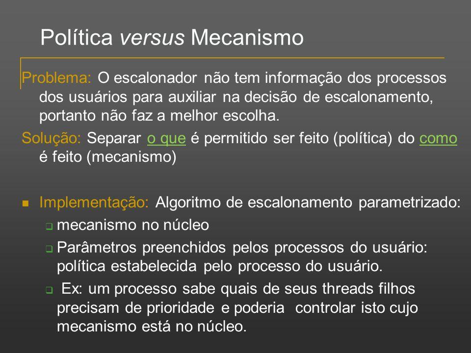 Política versus Mecanismo Problema: O escalonador não tem informação dos processos dos usuários para auxiliar na decisão de escalonamento, portanto nã
