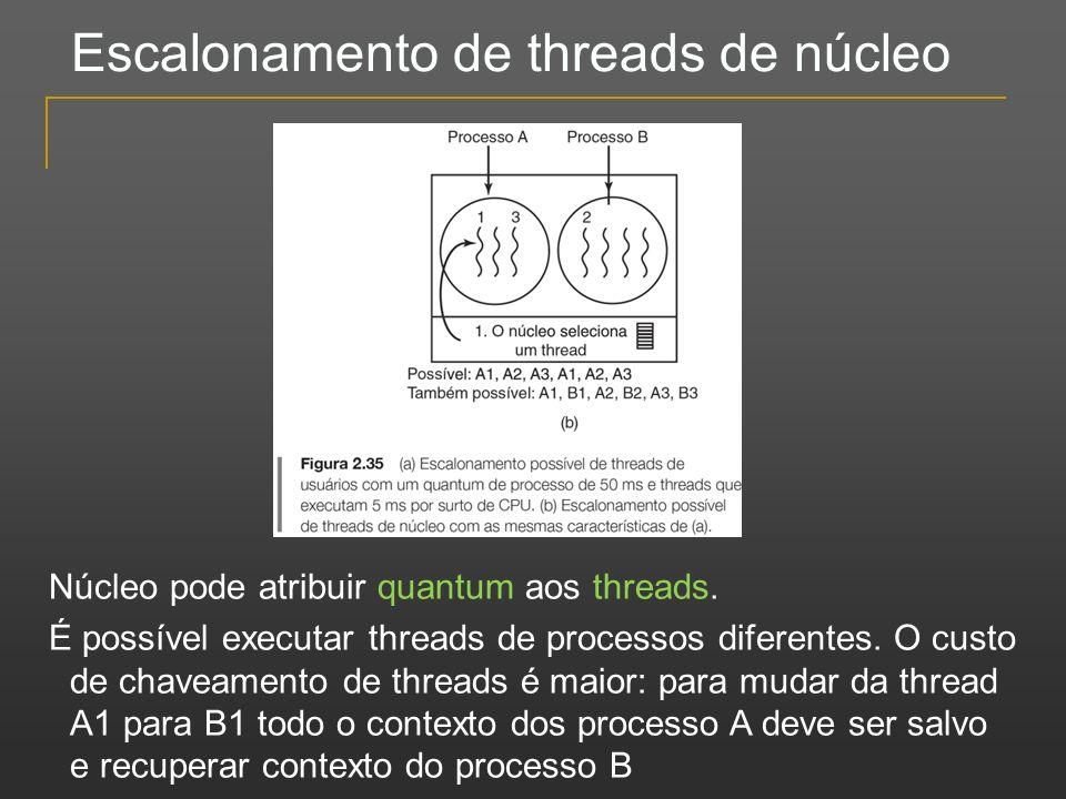 Escalonamento de threads de núcleo Núcleo pode atribuir quantum aos threads. É possível executar threads de processos diferentes. O custo de chaveamen