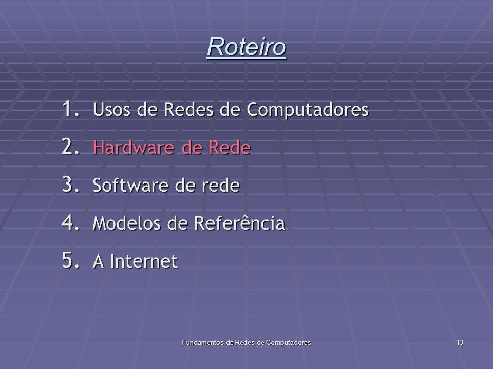 Fundamentos de Redes de Computadores13 Roteiro 1.Usos de Redes de Computadores 2.