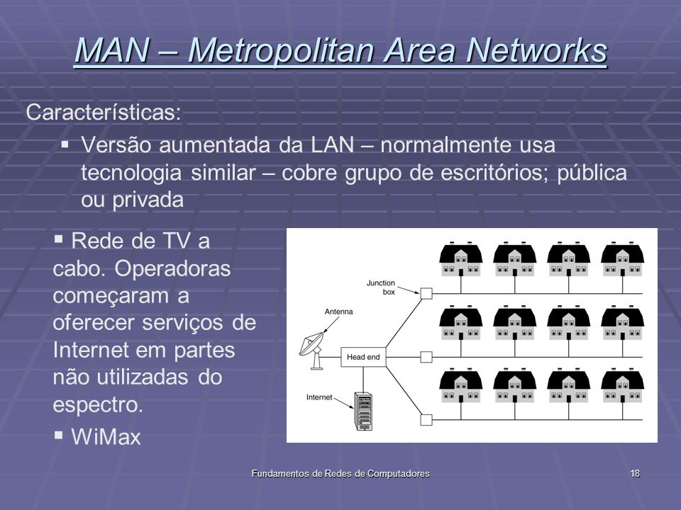 Fundamentos de Redes de Computadores18 MAN – Metropolitan Area Networks Características: Versão aumentada da LAN – normalmente usa tecnologia similar – cobre grupo de escritórios; pública ou privada Rede de TV a cabo.