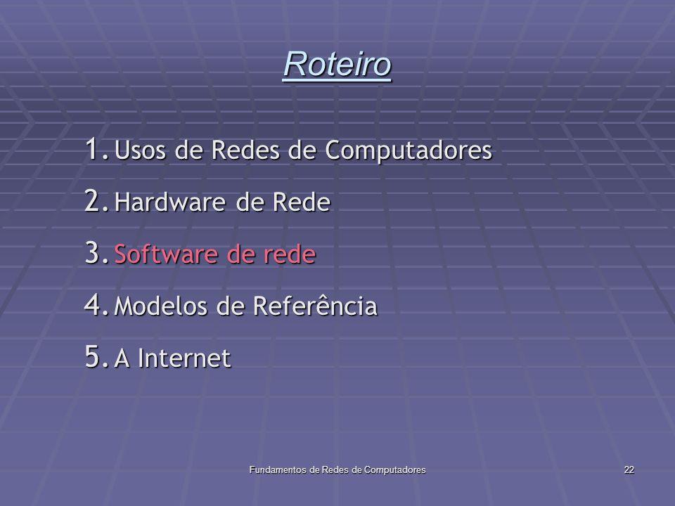 Fundamentos de Redes de Computadores22 Roteiro 1.Usos de Redes de Computadores 2.