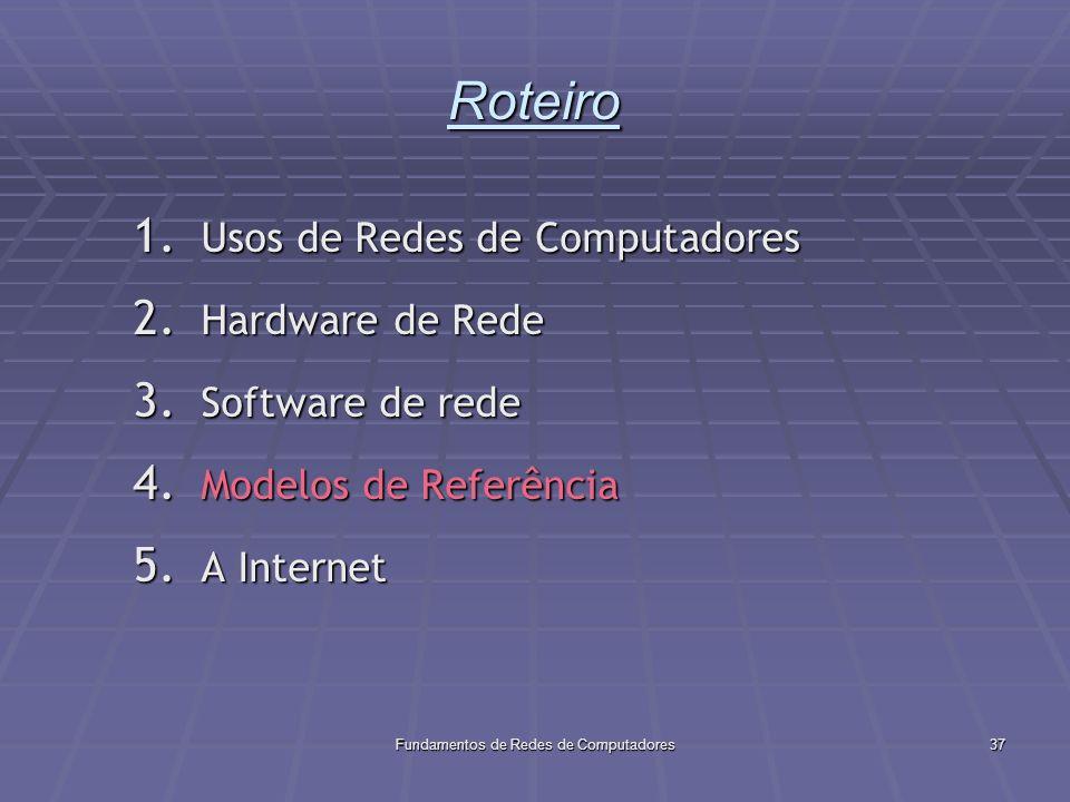 Fundamentos de Redes de Computadores37 Roteiro 1.Usos de Redes de Computadores 2.