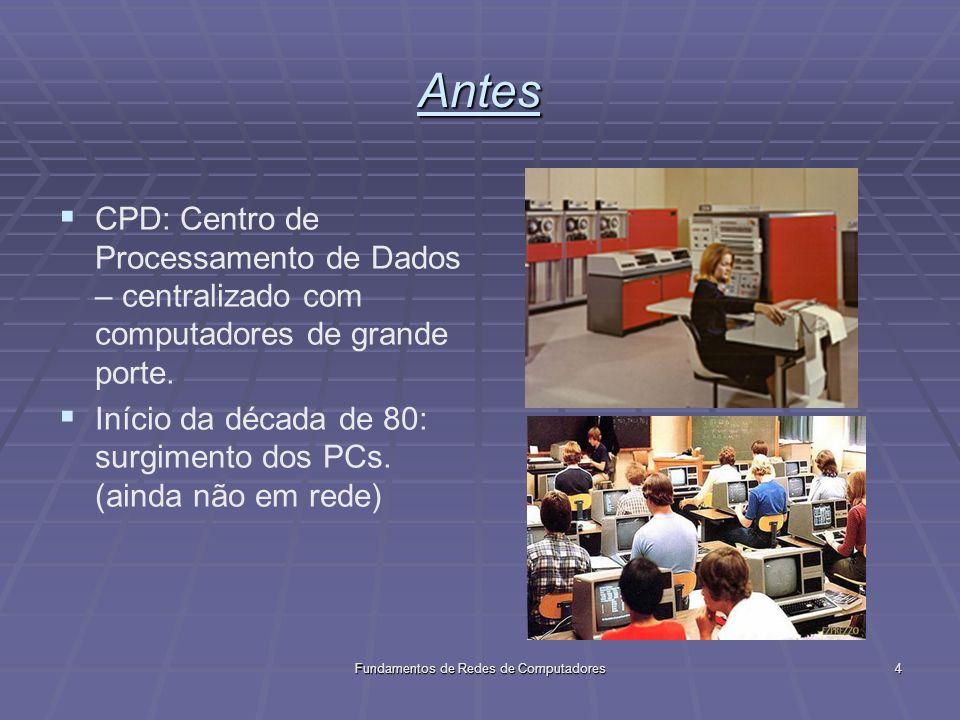 Fundamentos de Redes de Computadores4 Antes CPD: Centro de Processamento de Dados – centralizado com computadores de grande porte.
