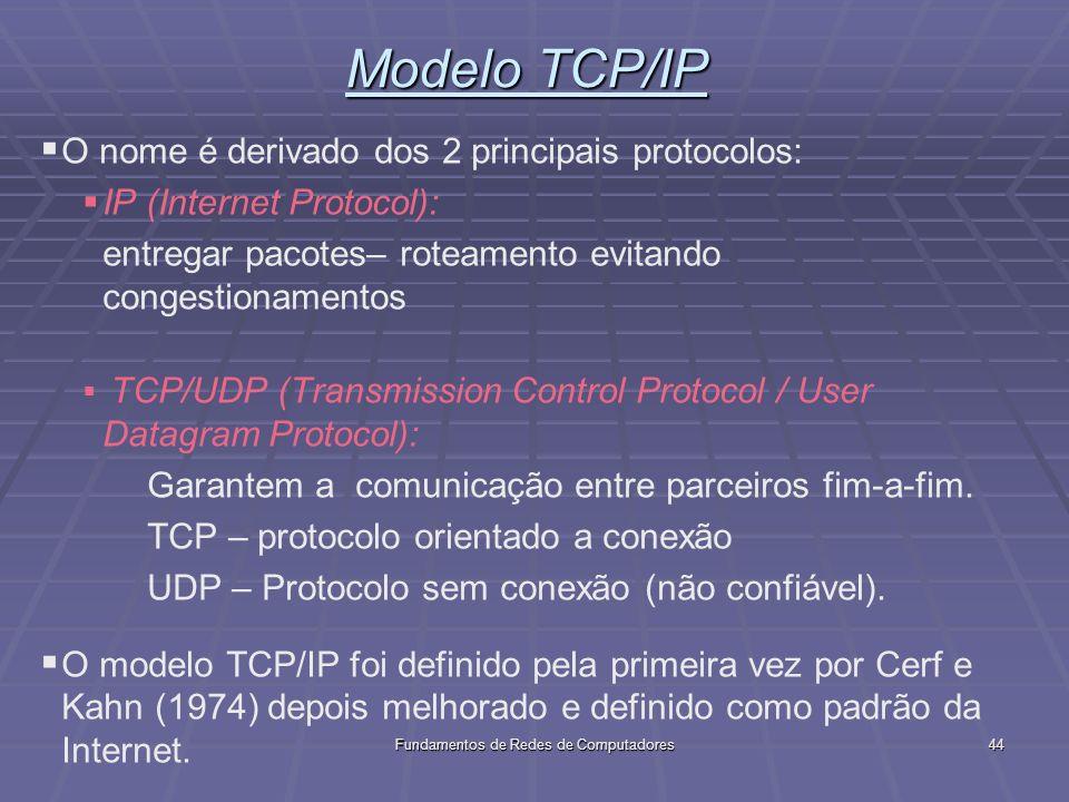 Fundamentos de Redes de Computadores44 Modelo TCP/IP O nome é derivado dos 2 principais protocolos: IP (Internet Protocol): entregar pacotes– roteamento evitando congestionamentos TCP/UDP (Transmission Control Protocol / User Datagram Protocol): Garantem a comunicação entre parceiros fim-a-fim.