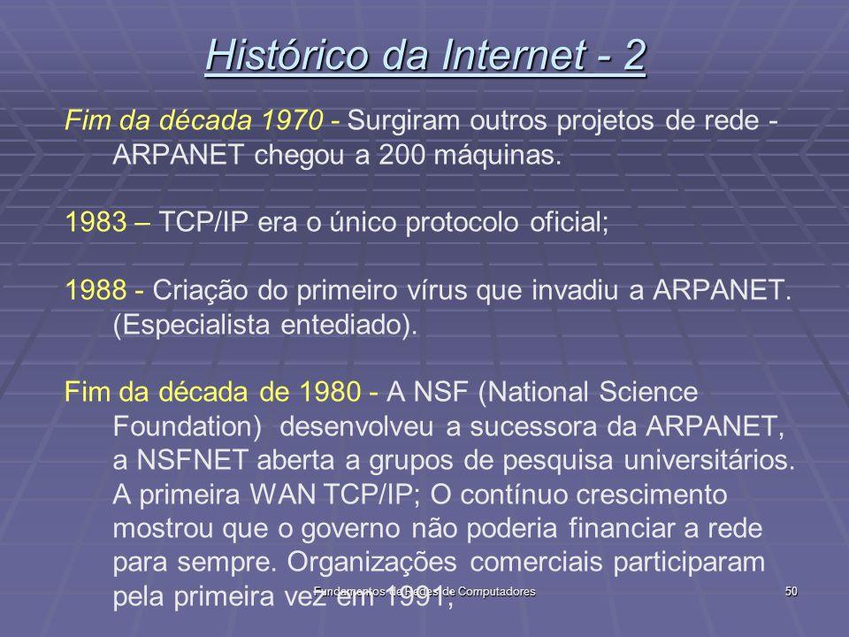Fundamentos de Redes de Computadores50 Histórico da Internet - 2 Fim da década 1970 - Surgiram outros projetos de rede - ARPANET chegou a 200 máquinas.