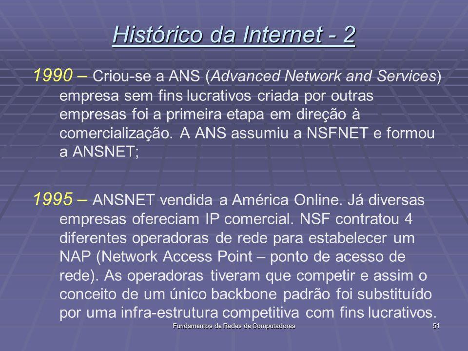 Fundamentos de Redes de Computadores51 Histórico da Internet - 2 1990 – Criou-se a ANS (Advanced Network and Services) empresa sem fins lucrativos criada por outras empresas foi a primeira etapa em direção à comercialização.