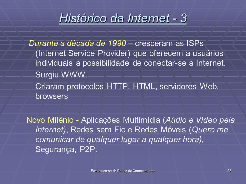 Fundamentos de Redes de Computadores52 Histórico da Internet - 3 Durante a década de 1990 – cresceram as ISPs (Internet Service Provider) que oferecem a usuários individuais a possibilidade de conectar-se a Internet.