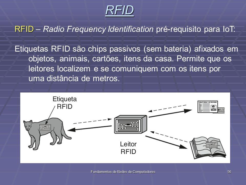 Fundamentos de Redes de Computadores56RFID RFID RFID – Radio Frequency Identification pré-requisito para IoT: Etiquetas RFID são chips passivos (sem bateria) afixados em objetos, animais, cartões, itens da casa.