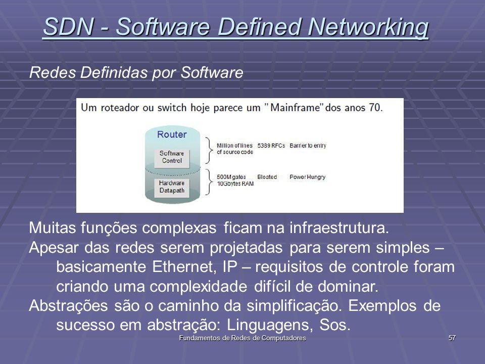 Fundamentos de Redes de Computadores57 SDN - Software Defined Networking Redes Definidas por Software Muitas funções complexas ficam na infraestrutura.