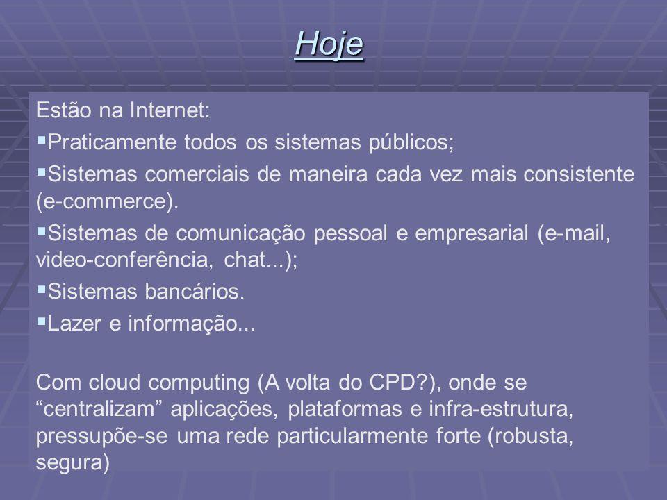 6Hoje Estão na Internet: Praticamente todos os sistemas públicos; Sistemas comerciais de maneira cada vez mais consistente (e-commerce).