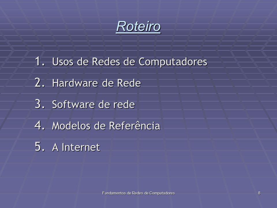 Fundamentos de Redes de Computadores29 Software de Rede O software permite que a comunicação se efetive.