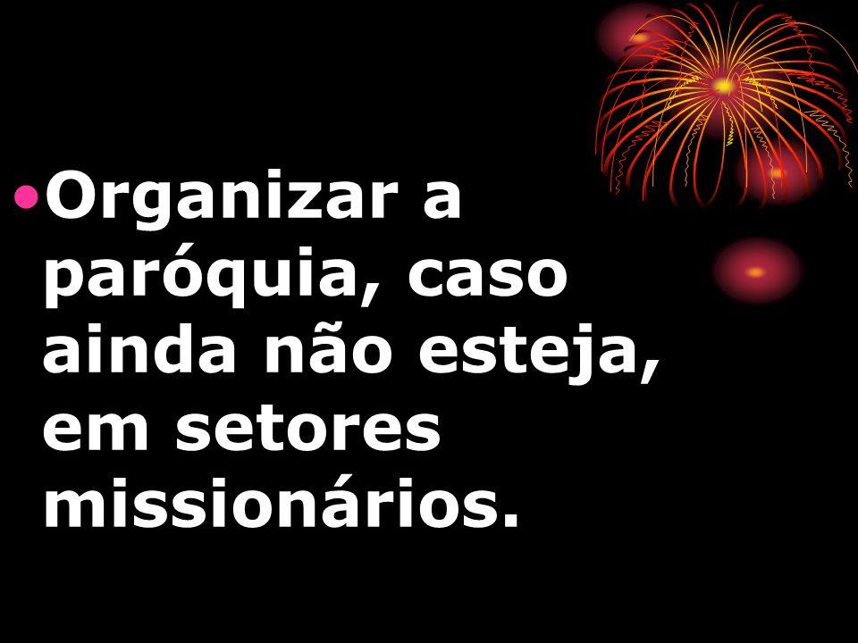 Organizar a paróquia, caso ainda não esteja, em setores missionários.