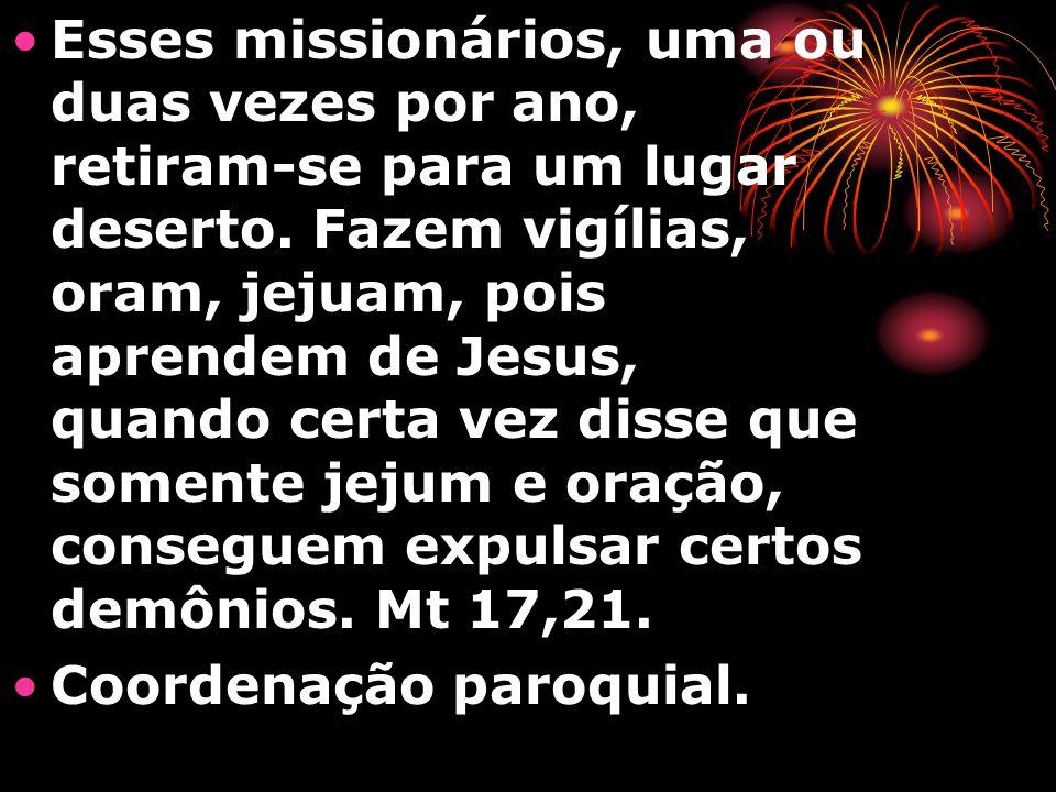 Esses missionários, uma ou duas vezes por ano, retiram-se para um lugar deserto. Fazem vigílias, oram, jejuam, pois aprendem de Jesus, quando certa ve