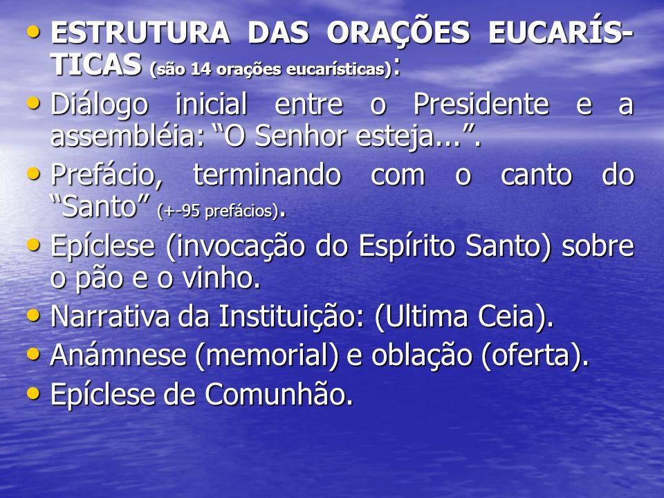 ESTRUTURA DAS ORAÇÕES EUCARÍS- TICAS (são 14 orações eucarísticas) : ESTRUTURA DAS ORAÇÕES EUCARÍS- TICAS (são 14 orações eucarísticas) : Diálogo inic